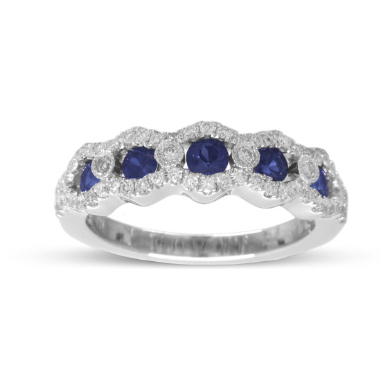 View 0.99cttw Sapphire and Diamond Wedding Band in 14k White Gold