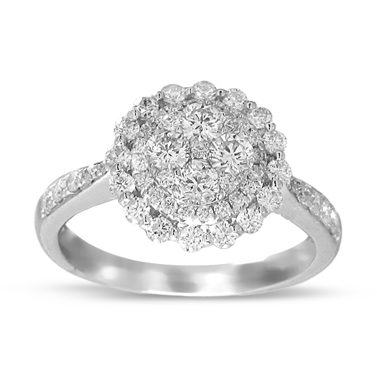 1.06cttw Diamond Cluster Fashion Ring in 18k White Gold