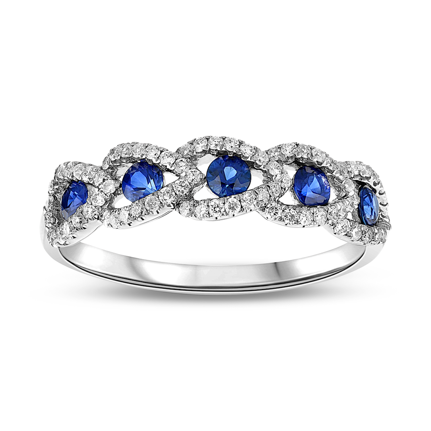 View 0.70ctw Diamond and Sapphire Wedding Band in 18k Gold