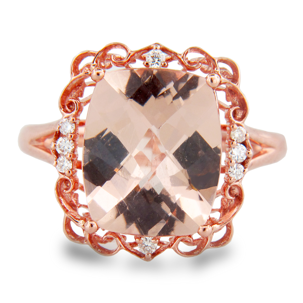 View 4.12cttw Morganite and Diamond Ring in 14k Rose Gold
