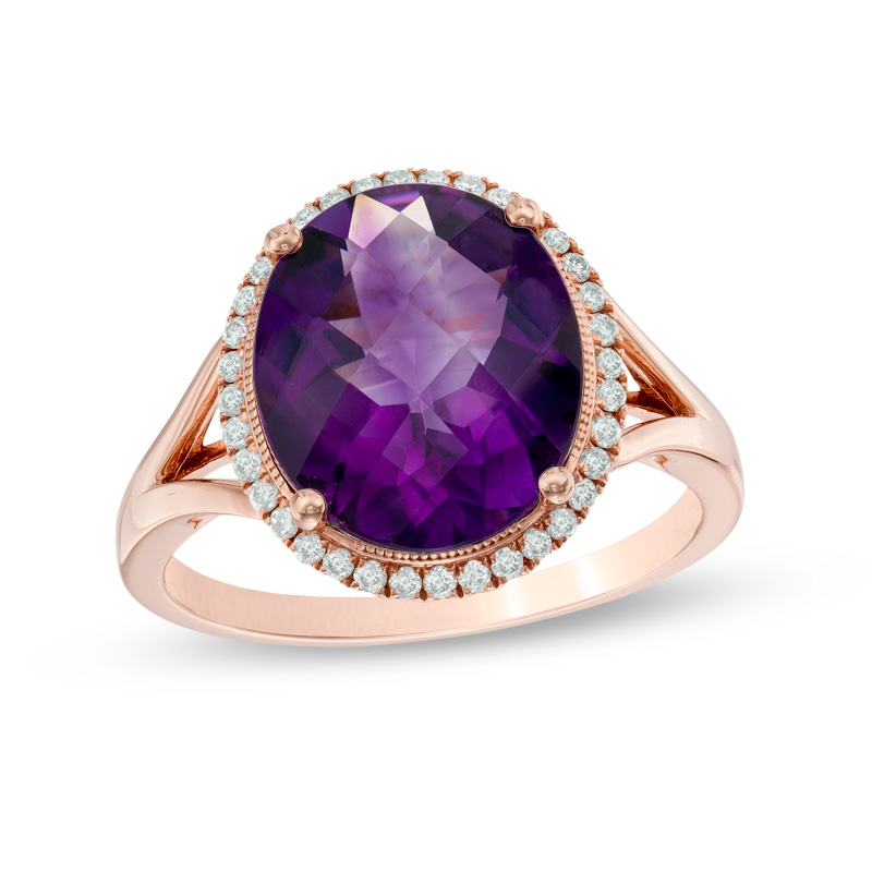 View 0.17ctw Diamond and Amethyst Ring in 14k Rose Gold