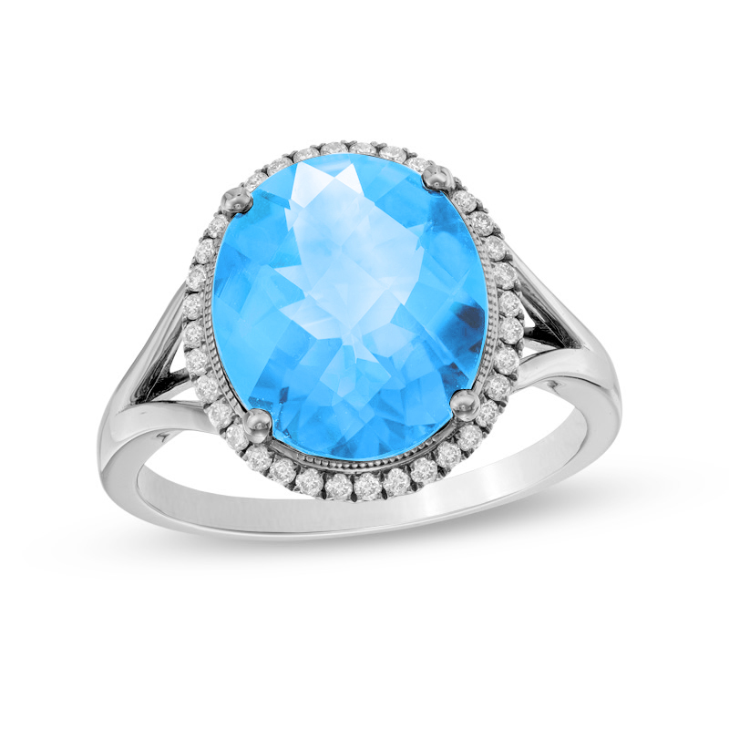 View 0.17ctw Diamond and Blue Topaz Ring in 14k White Gold