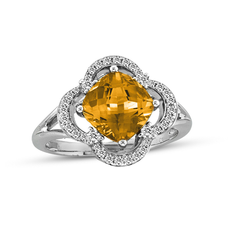 View 0.27ctw Diamond and Cirtine Fashion Ring in 14k Gold