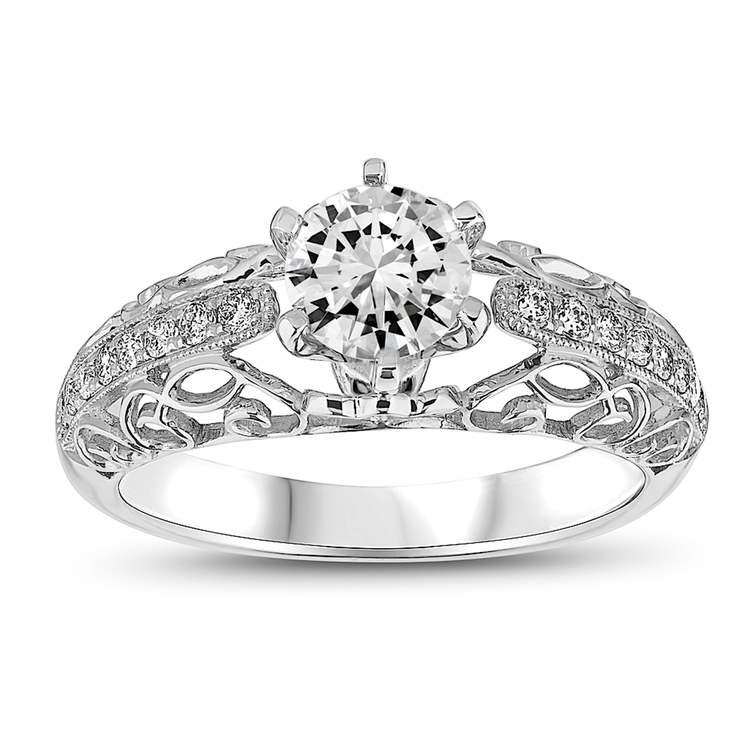 View 0.18ctw Diamond Semi Mount Engagement Ring in 14k WG