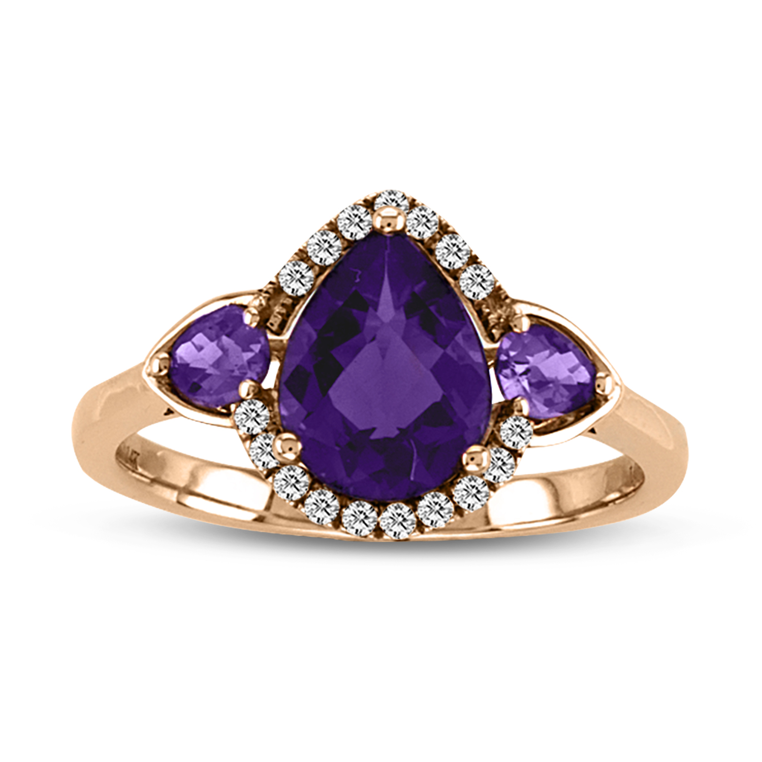 View Diamond and Amethyst Fashion Ring in 14k Rose Gold