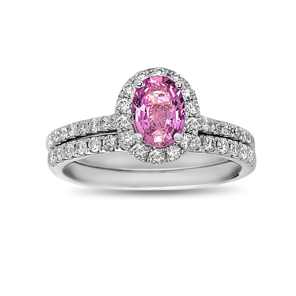 View 0.60ctw Diamond and  Oval Pink Sapphire Engagement Halo Ring Set in 14k White Gold