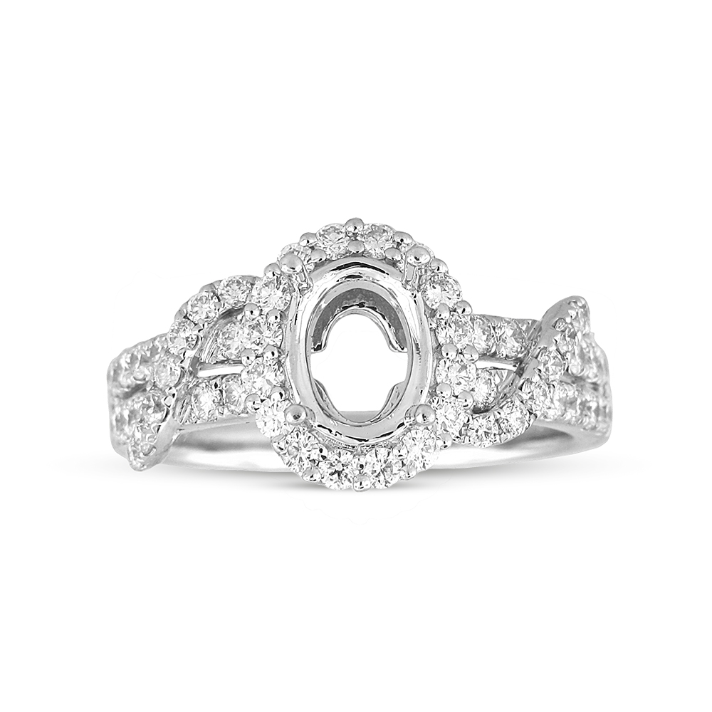 View 0.79ctw Diamond Semi Mount Engagement Ring in 18k WG