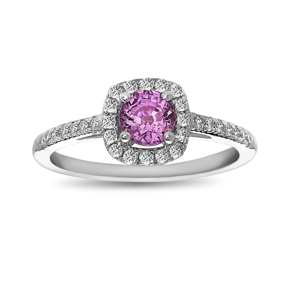 View 1.03ctw Pink Sapphire and Diamond Engagement Ring in 14k White Gold