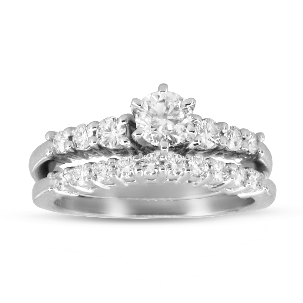 View 1.00ctw Diamond Engagement Ring and Wedding Band Set in 14k Gold