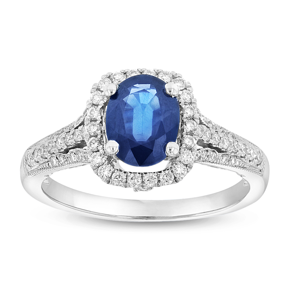 View 0.34ctw Diamond and Sapphire Fashion Ring in 14k WG