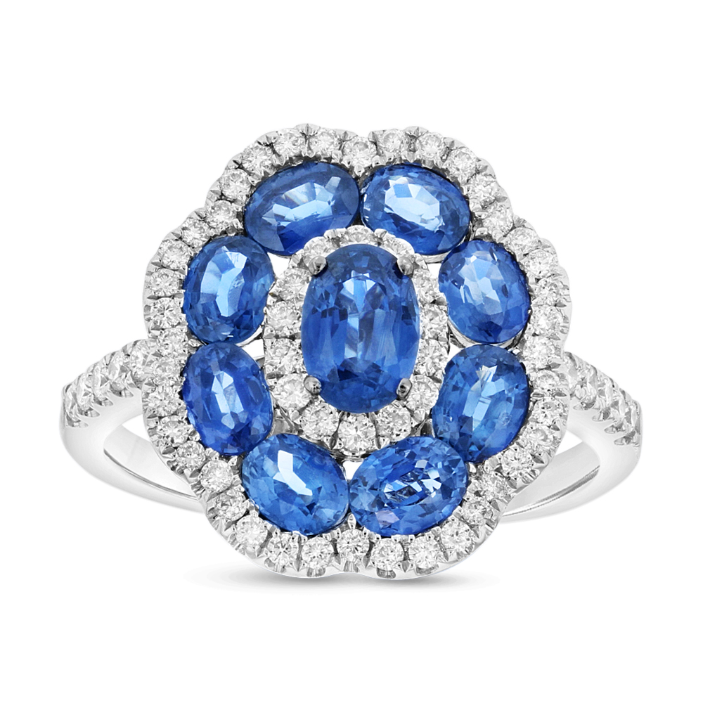 View 0.45ctw Diamond and Sapphire Fashion Ring in 18k WG
