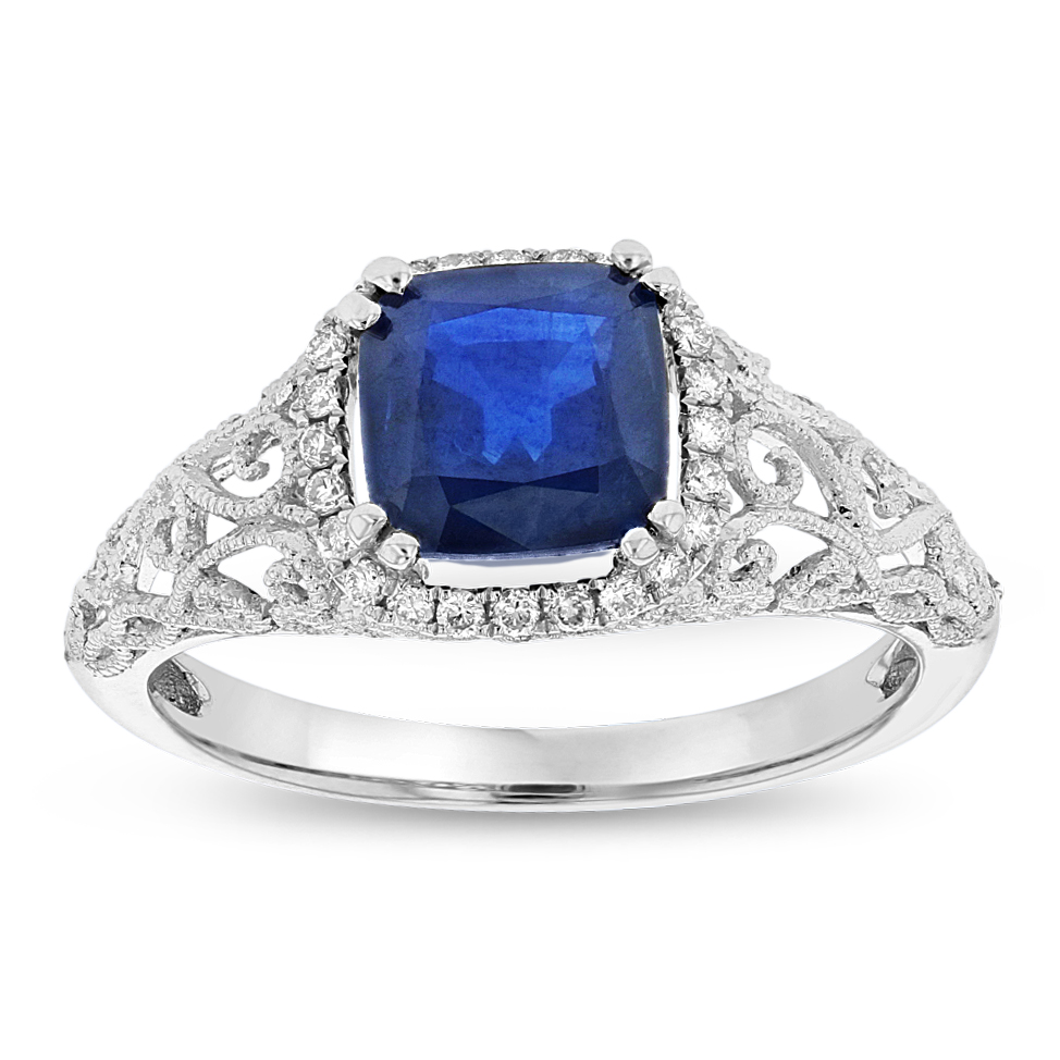 View 0.12ctw Diamond and Sapphire Fashion Ring in 14k WG