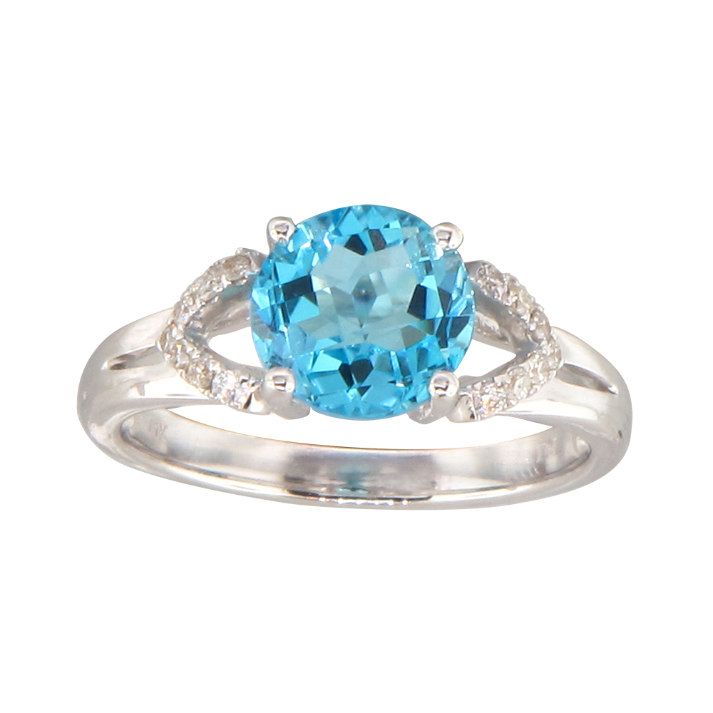 View 0.12ctw Diamond and Blue Topaz Fashion ring in 14k WG