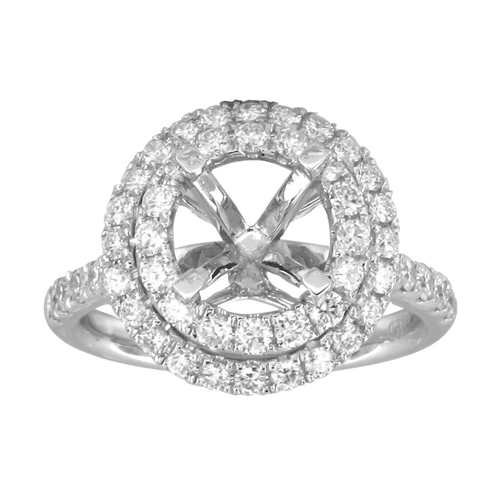 View 1.14ctw Diamond Semi Mount Engagment Ring in 18k WG