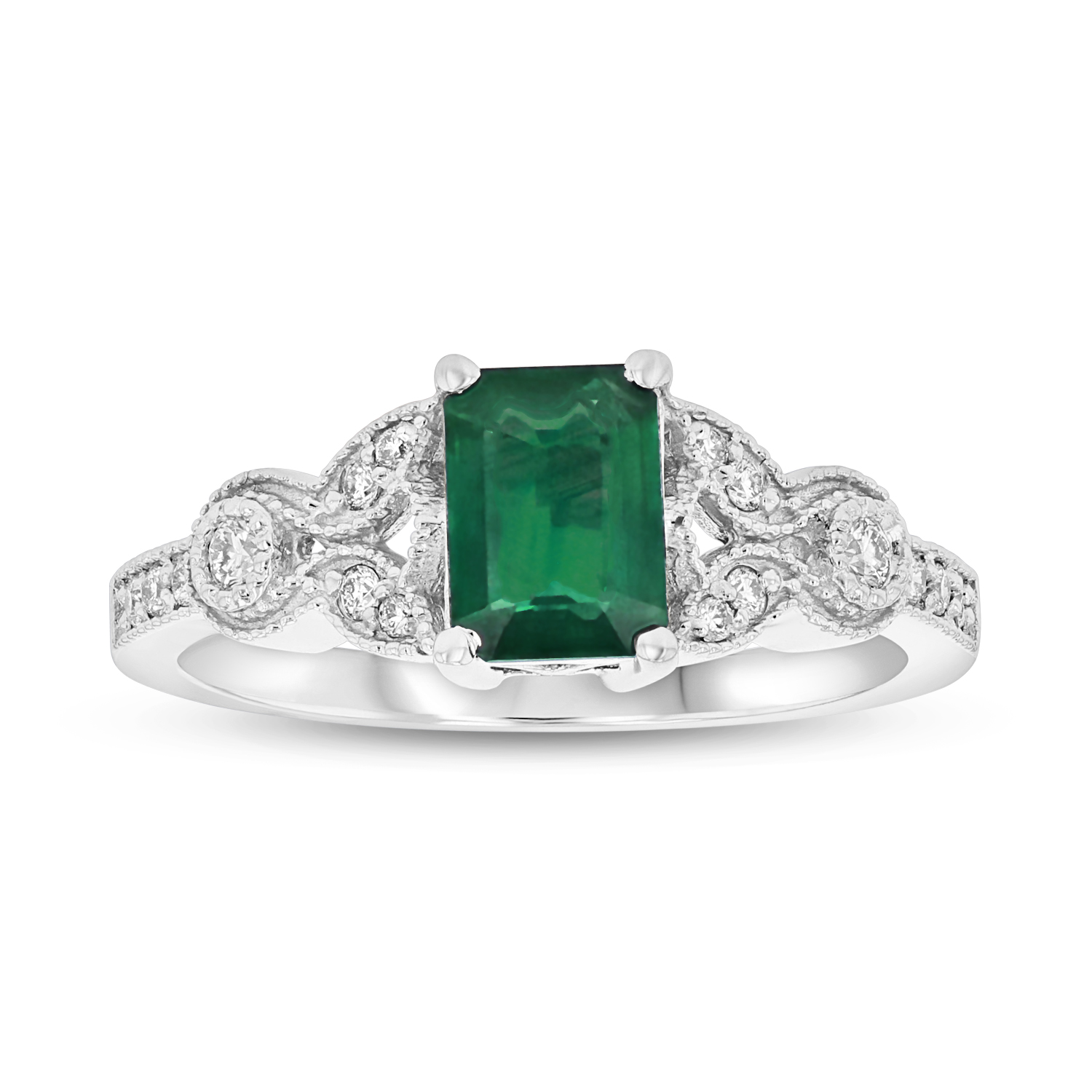 View 1.05ctw Diamond and Emerald Engagement Ring in 14k White Gold