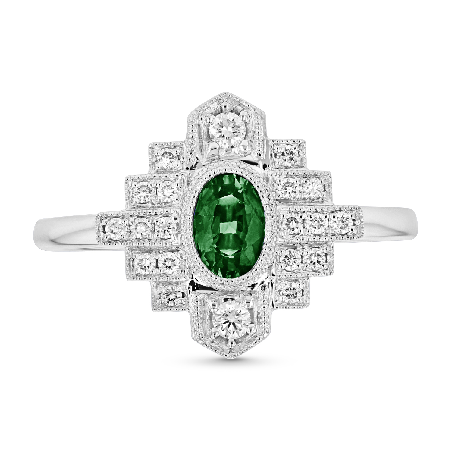 View 0.69ctw Emerald and Diamond  Ring in 14k White Gold