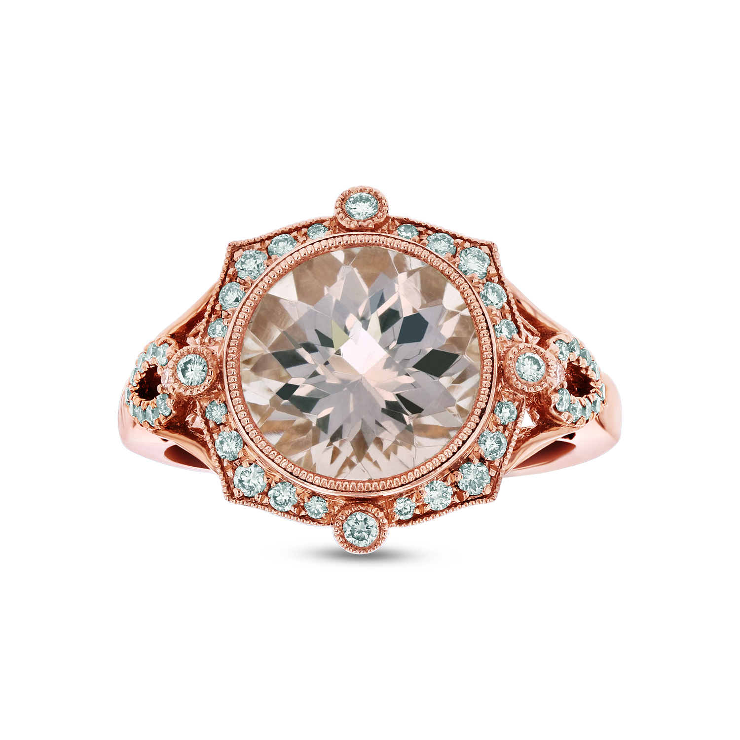 View Diamond and Morganite Ring in 14k Rose Gold