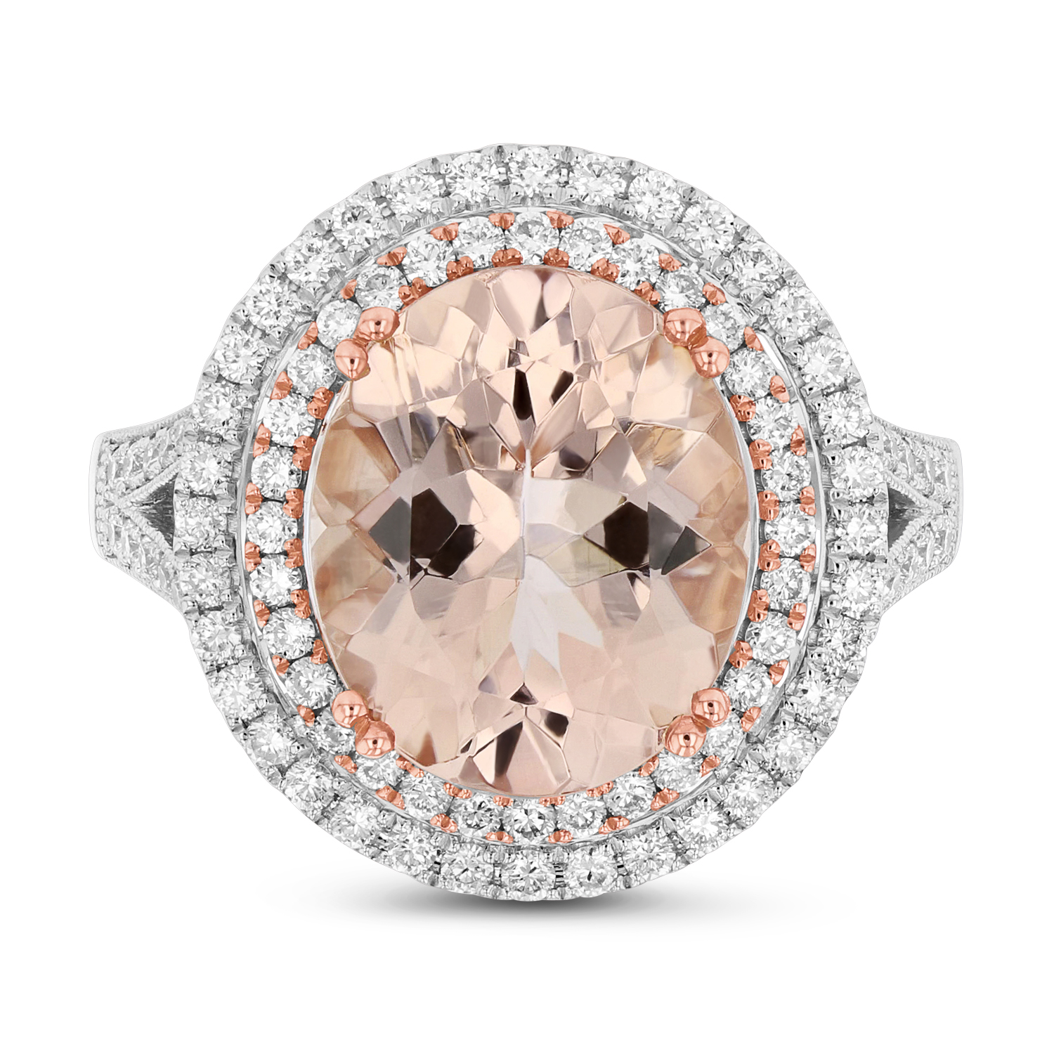 View Diamond and Morganite Ring in 14k Two Tone Gold