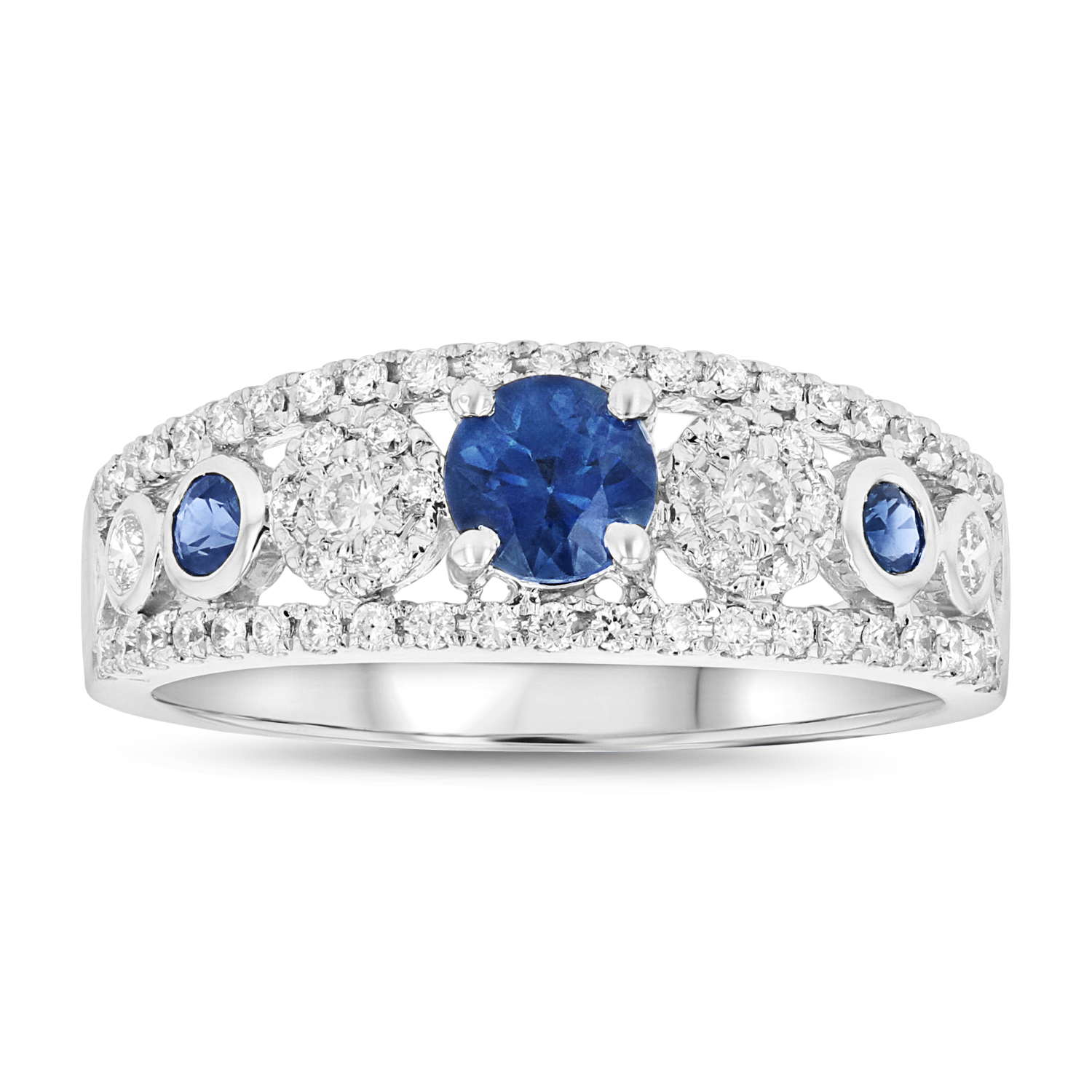 View Diamond and sapphire Ring in 14k White gold