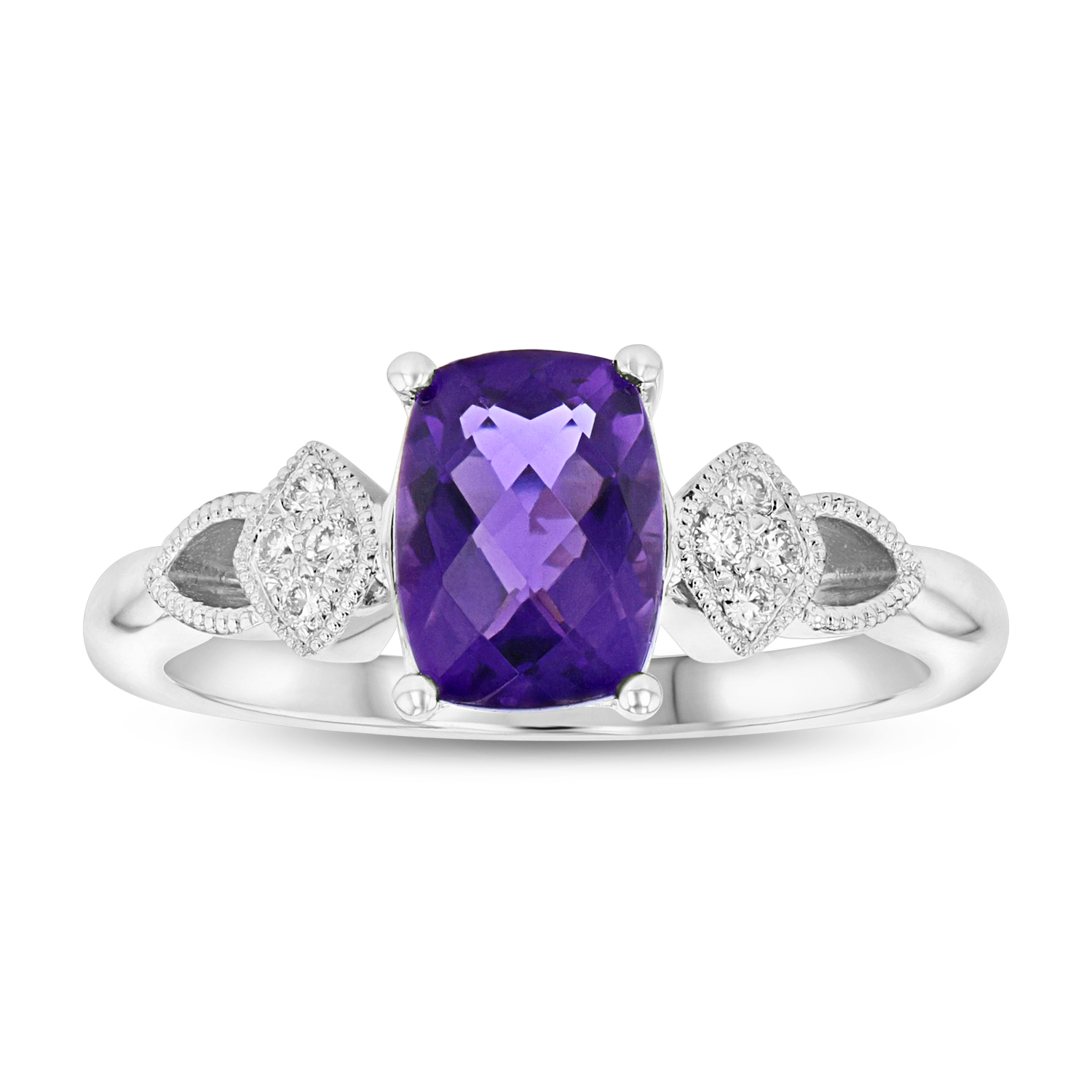 View Diamond and Amethyst ring in 14k White Gold
