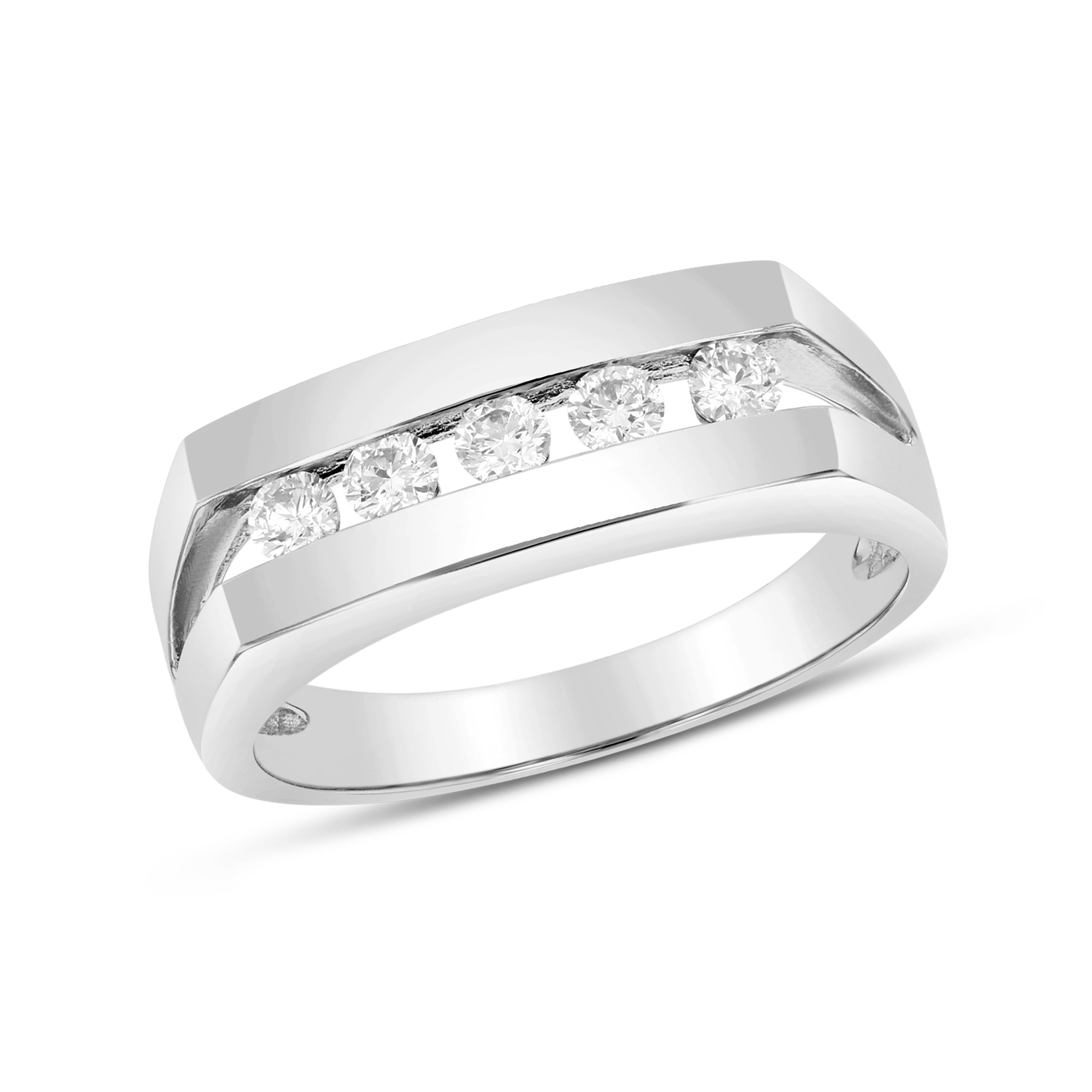 View 0.40ctw Diamond Men's Band in 14k White Gold