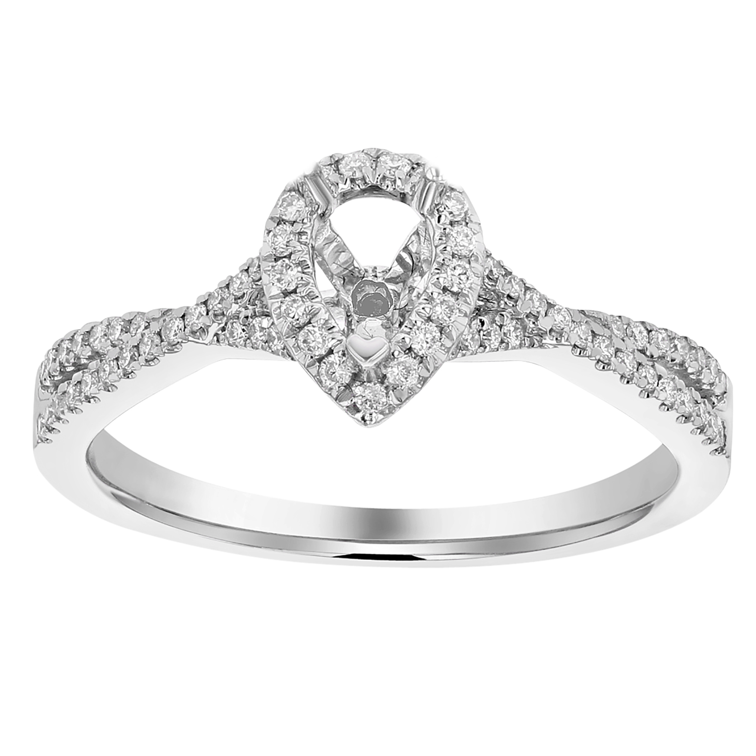 View 0.22ctw Diamond Pear Shaped Semi Mount in 18k White Gold