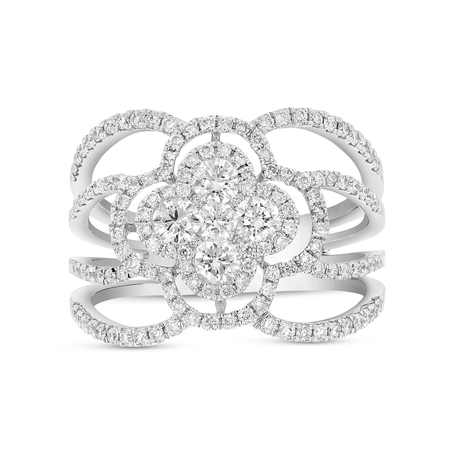 View 1.05ctw Diamond Clover Fashion Ring in 18k White Gold