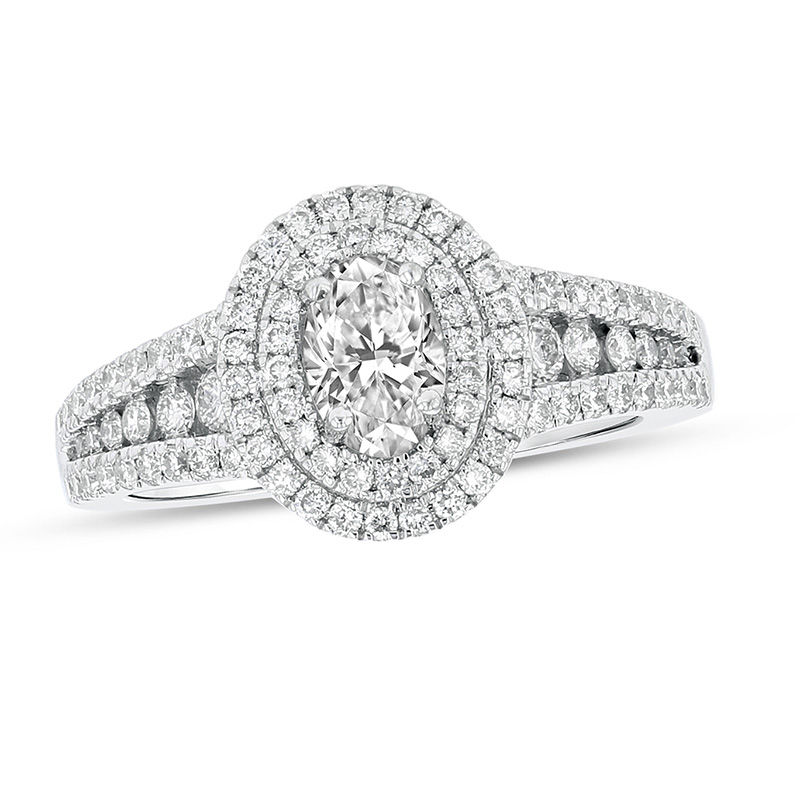 View 1.10ctw Oval Diamond Engagment Ring in 18k White Gold