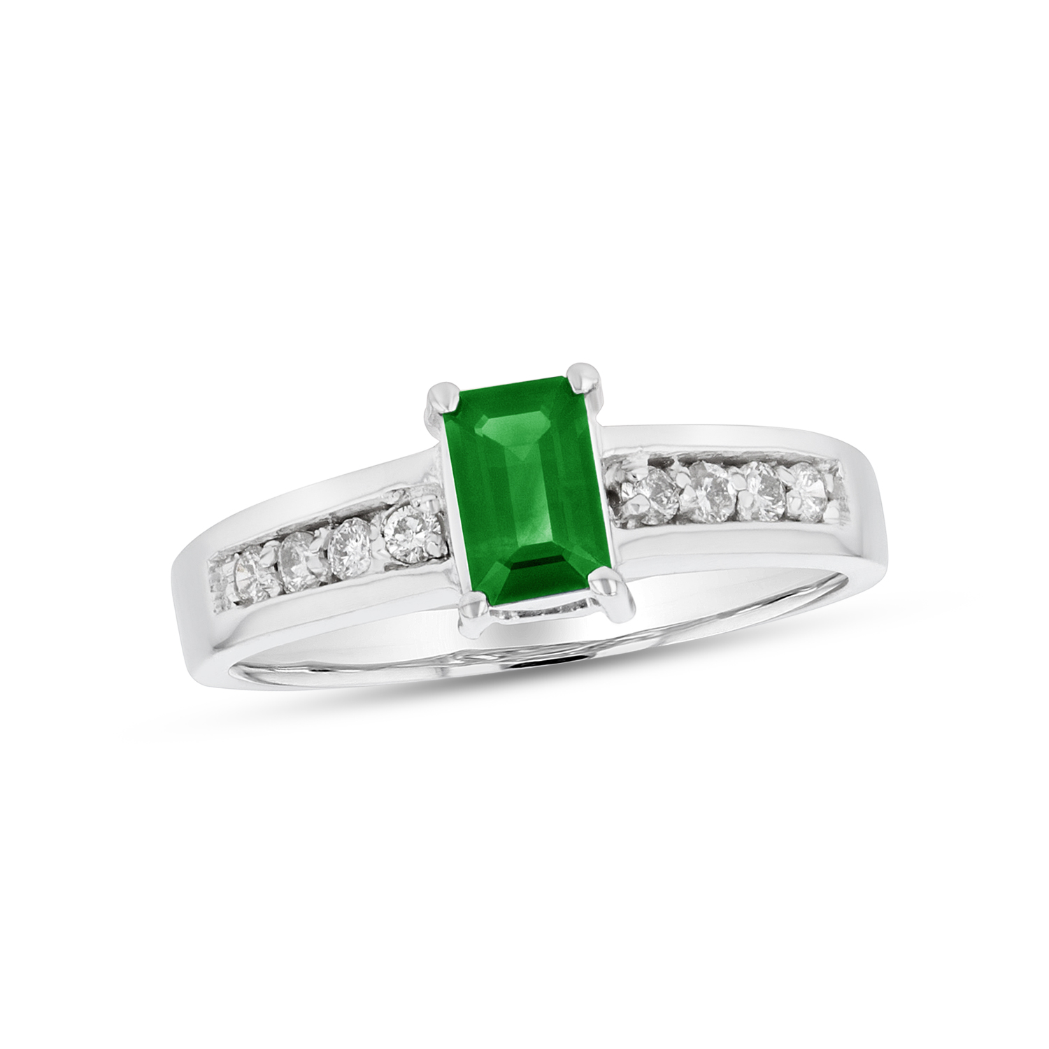 View 0.70ctw Diamond and Emerald Ring in 14k White Gold