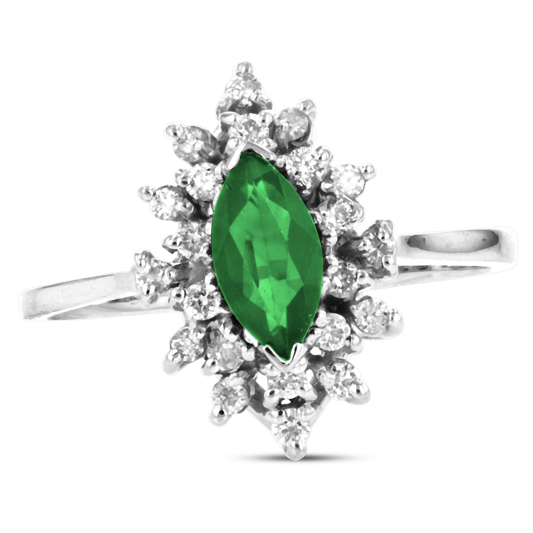 View 0.70ctw Diamond and Marquis Shaped Emerald in 14k White Gold