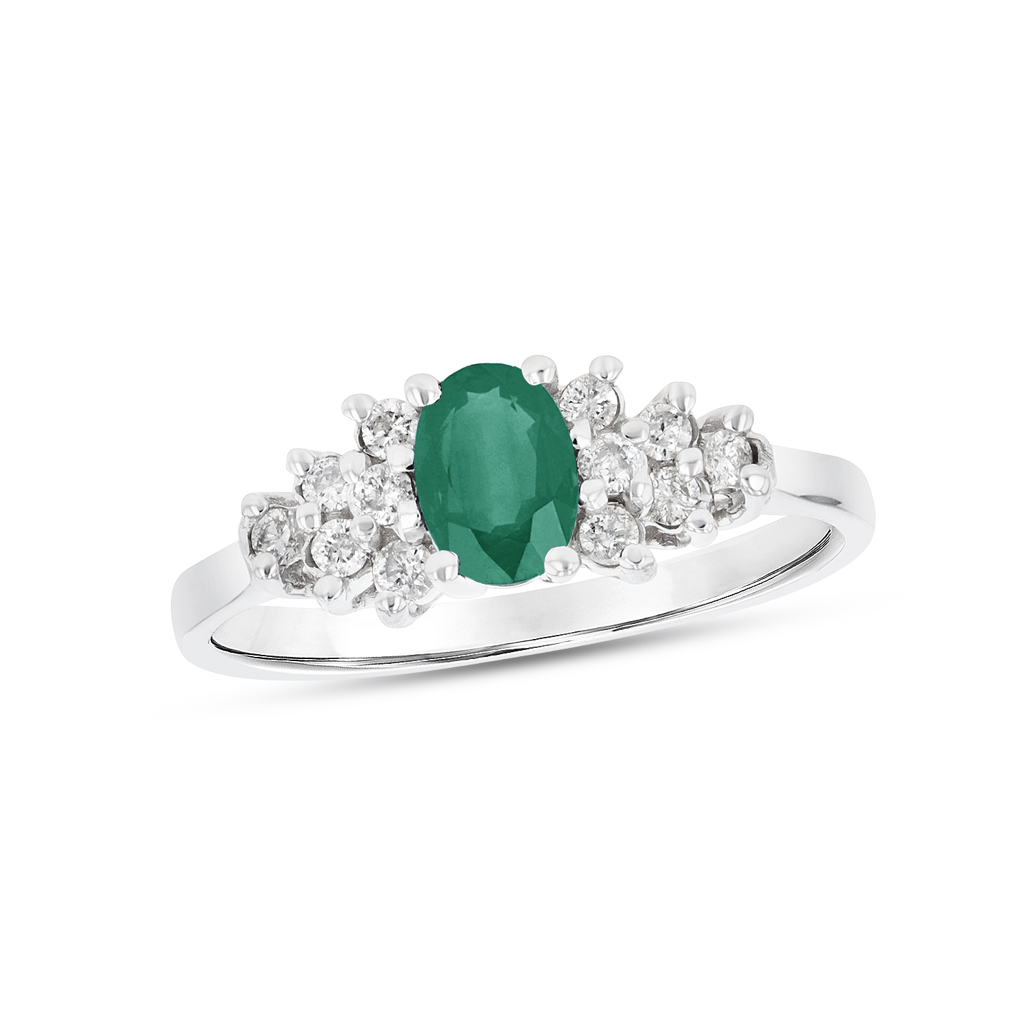 View 0.60ctw Diamond and Emerald Ring in 14k White Gold
