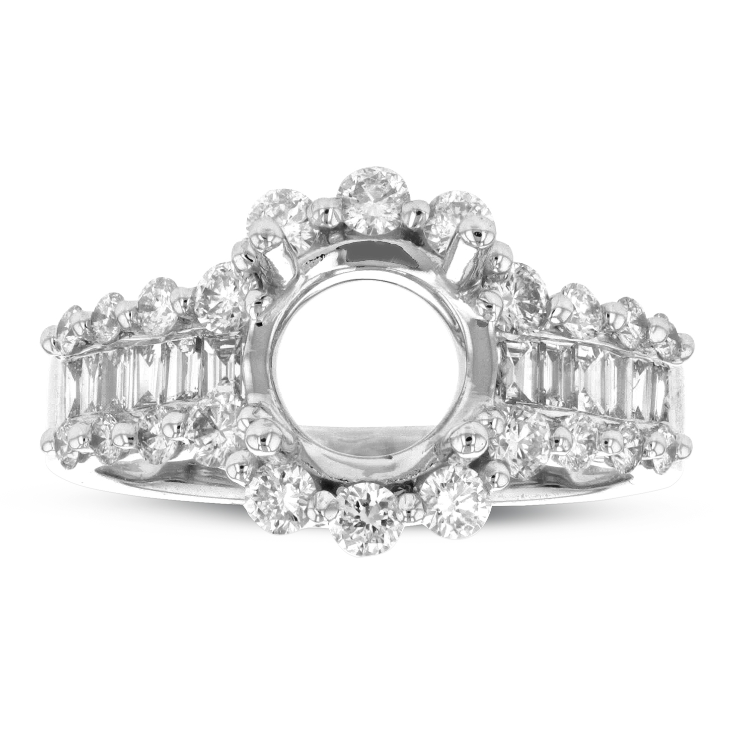 View 0.95ctw Diamond Semi Mount Ring in 18k White Gold