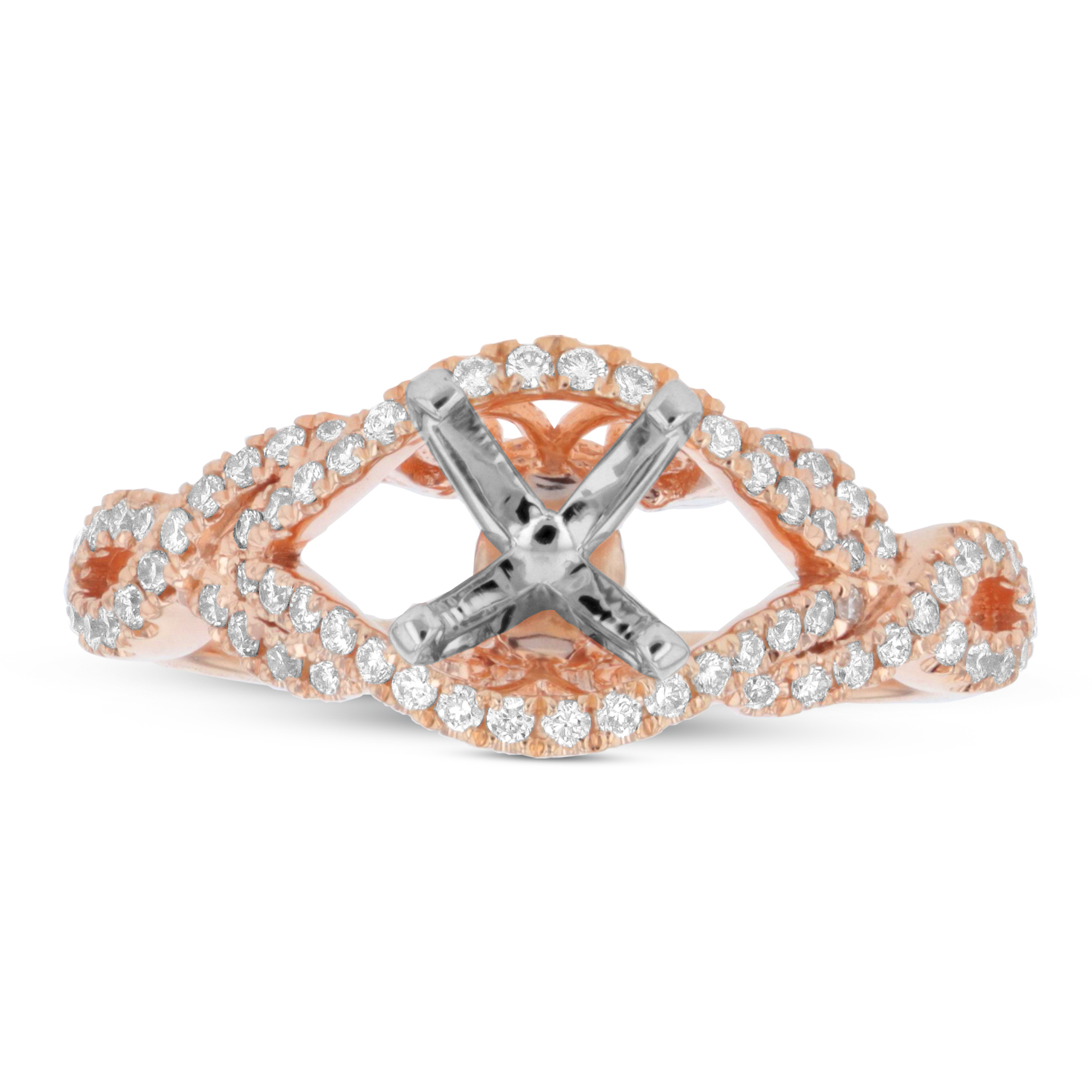 View 0.30ctw Diamond Semi Mount in 14k Rose Gold