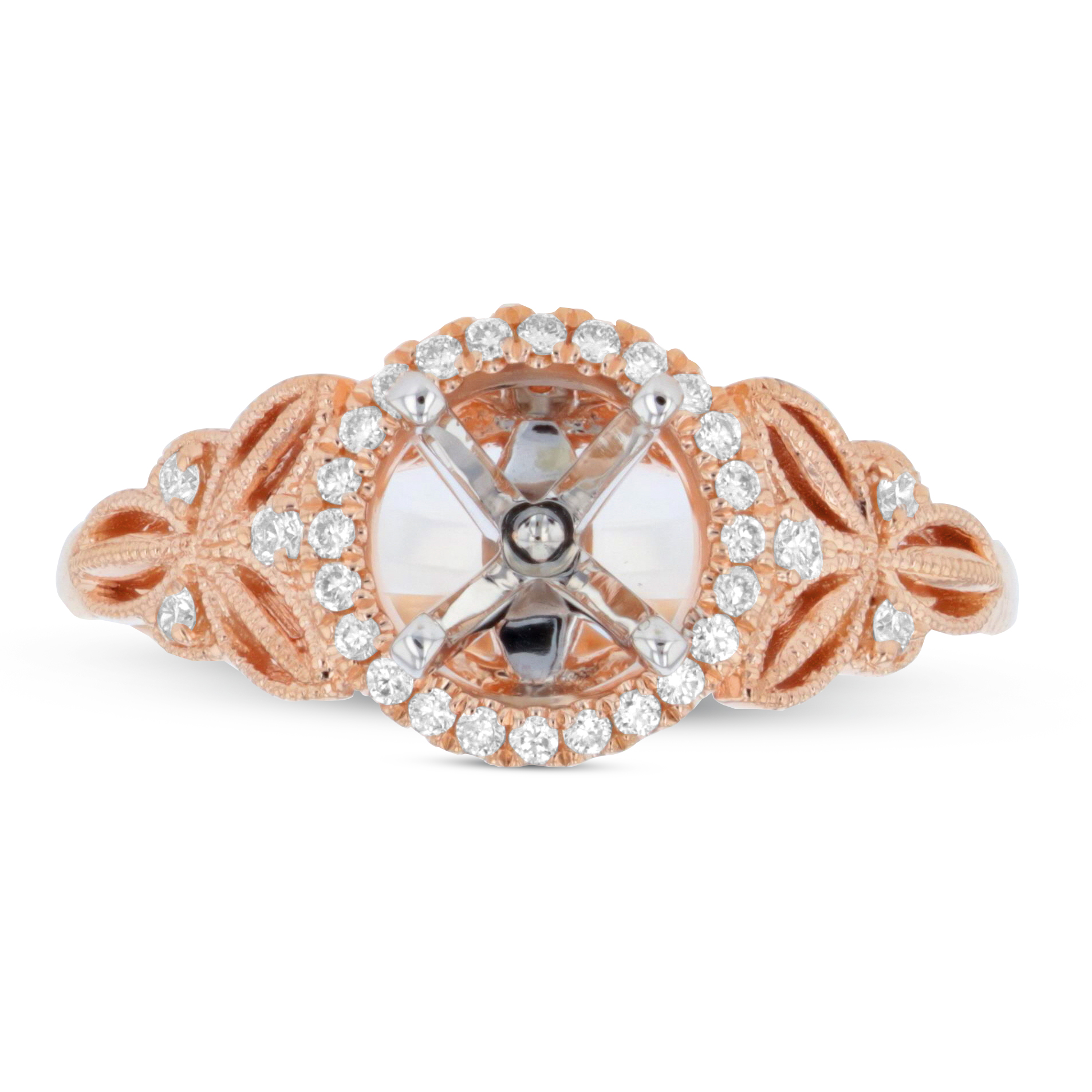 View 0.16ctw Diamond Semi Mount in 14k Rose Gold