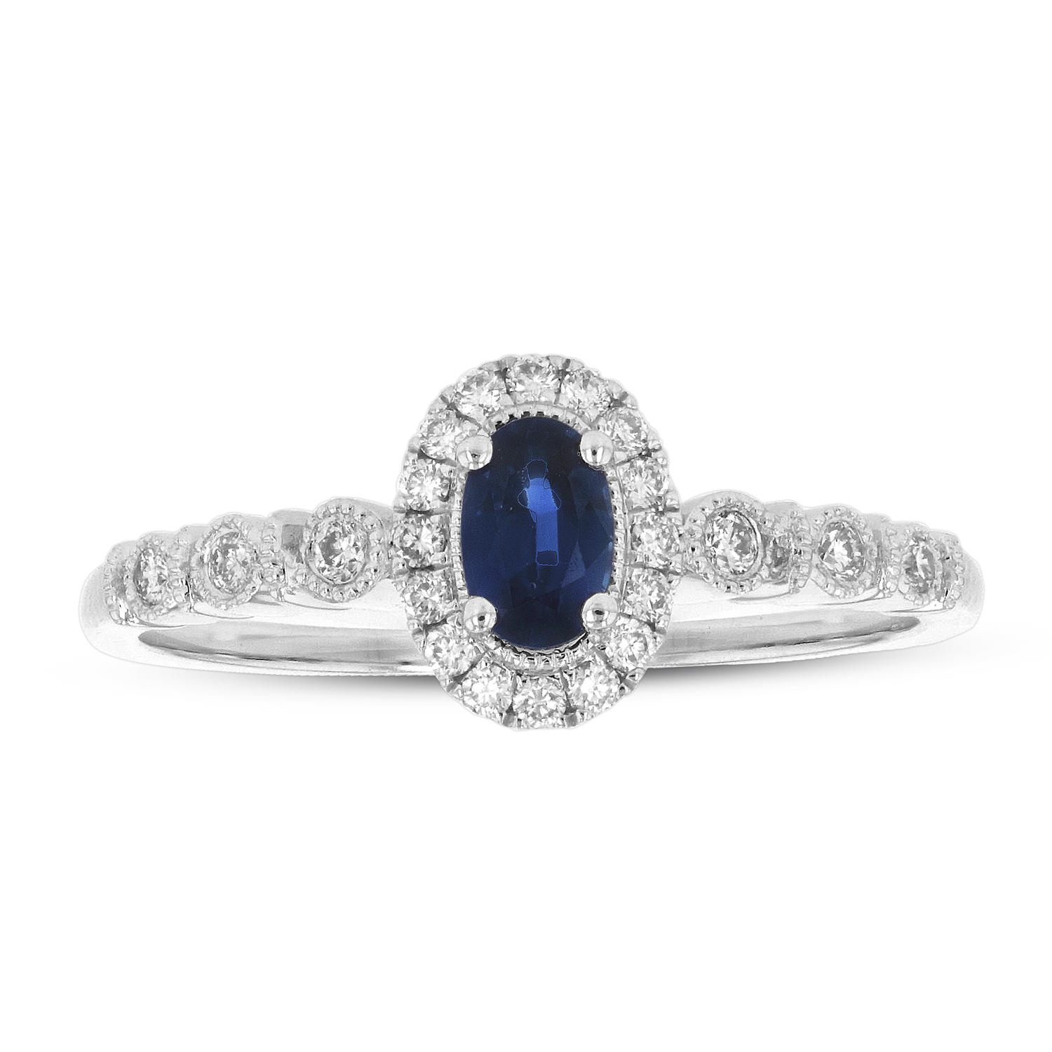 View 1/2ctw Diamond and Sapphire Ring in 14k White Gold