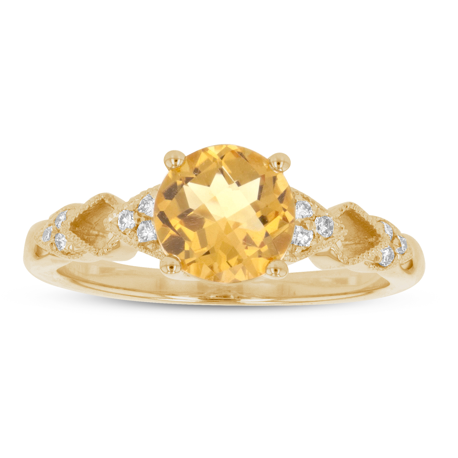 View 1.27ctw Diamond and Citrine Ring in 14k Yellow Gold