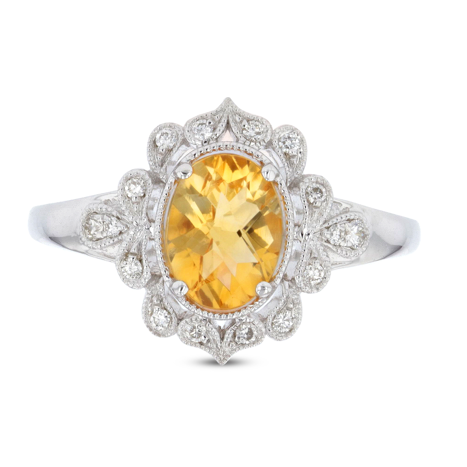 View 1.13ctw Diamond and Citrine Ring in 14k White Gold