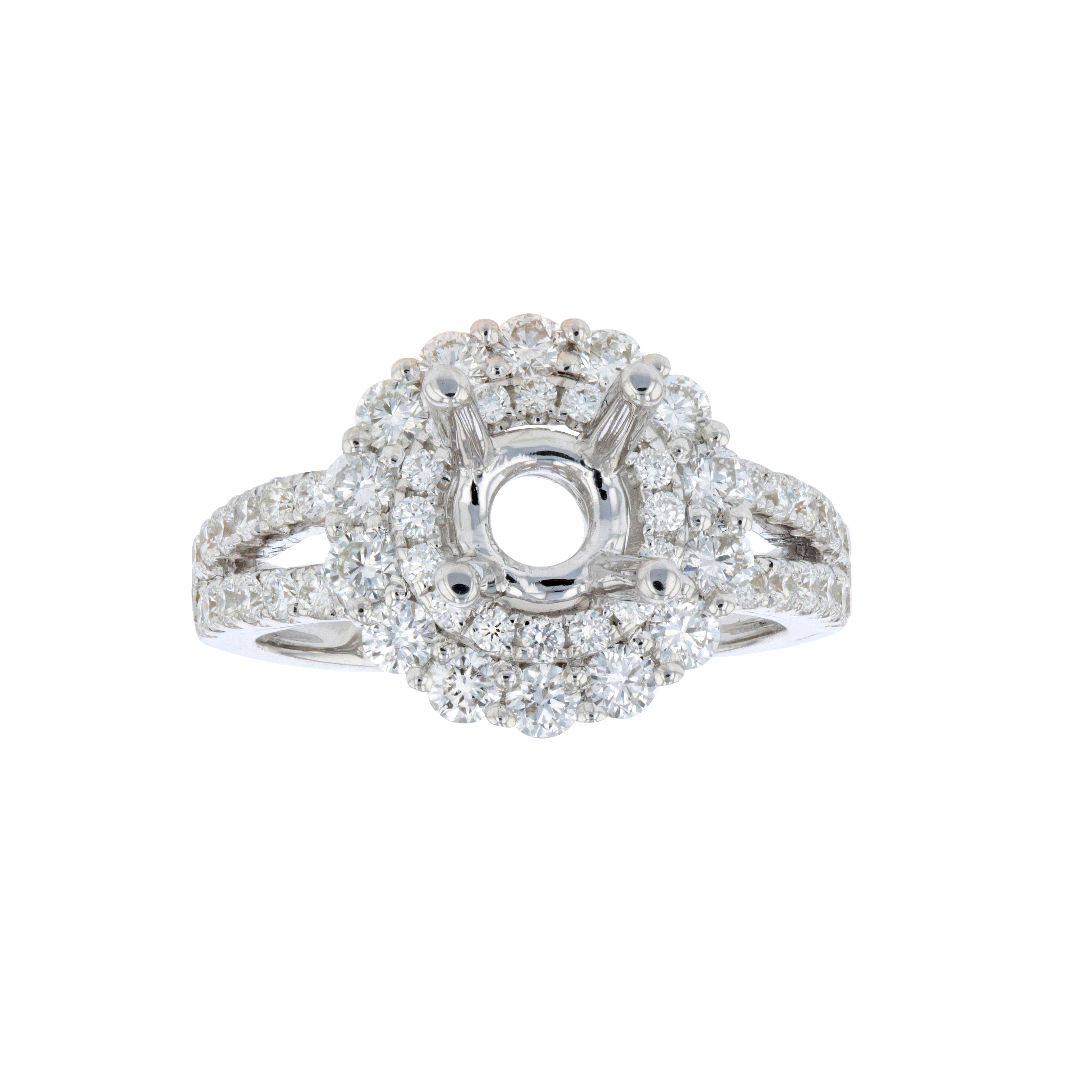 View 1.07ctw Diamond Semi Mount Engagement Ring in 18k White Gold