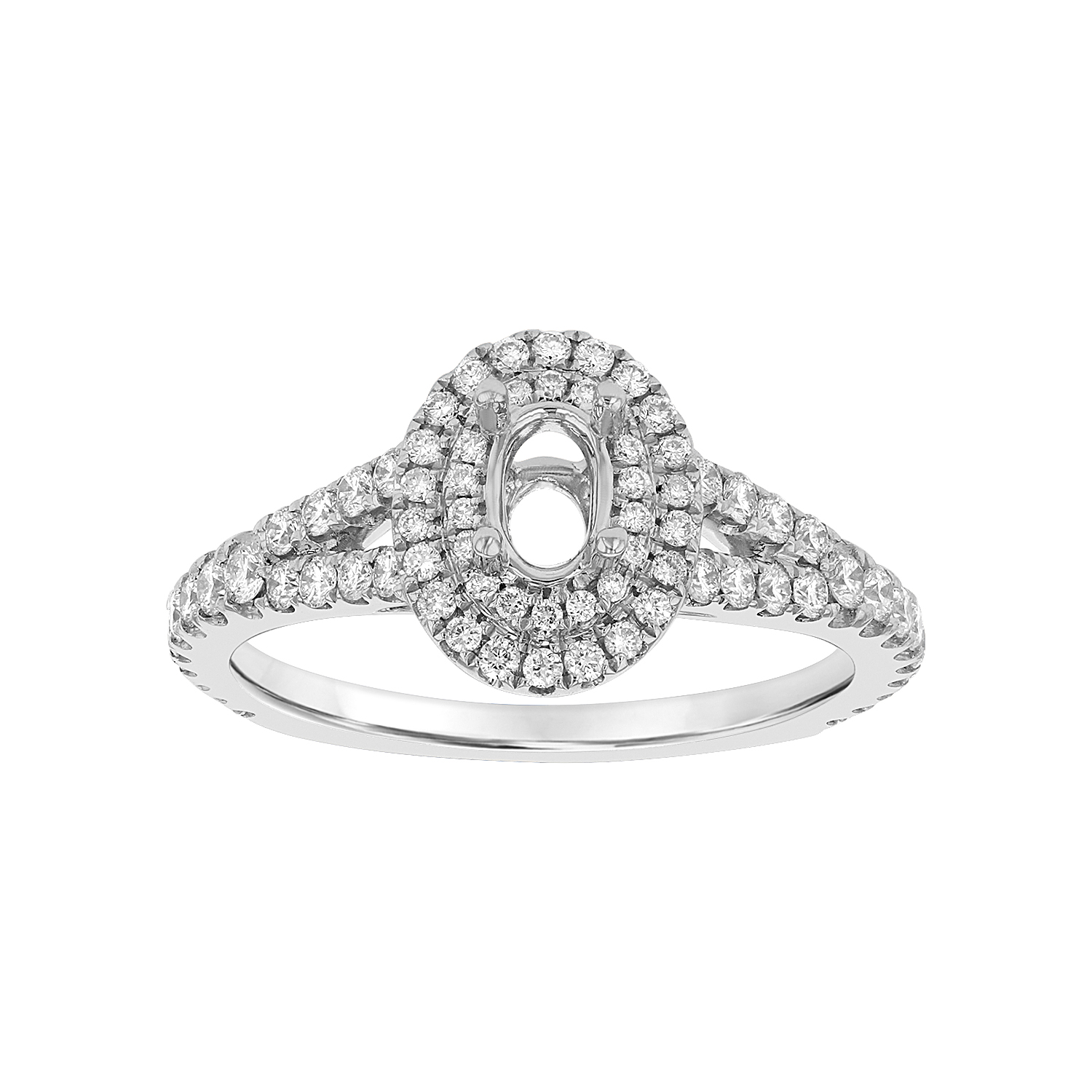 View 0.58ctw Diamond Semi Mount Engagement Ring in 18k White Gold