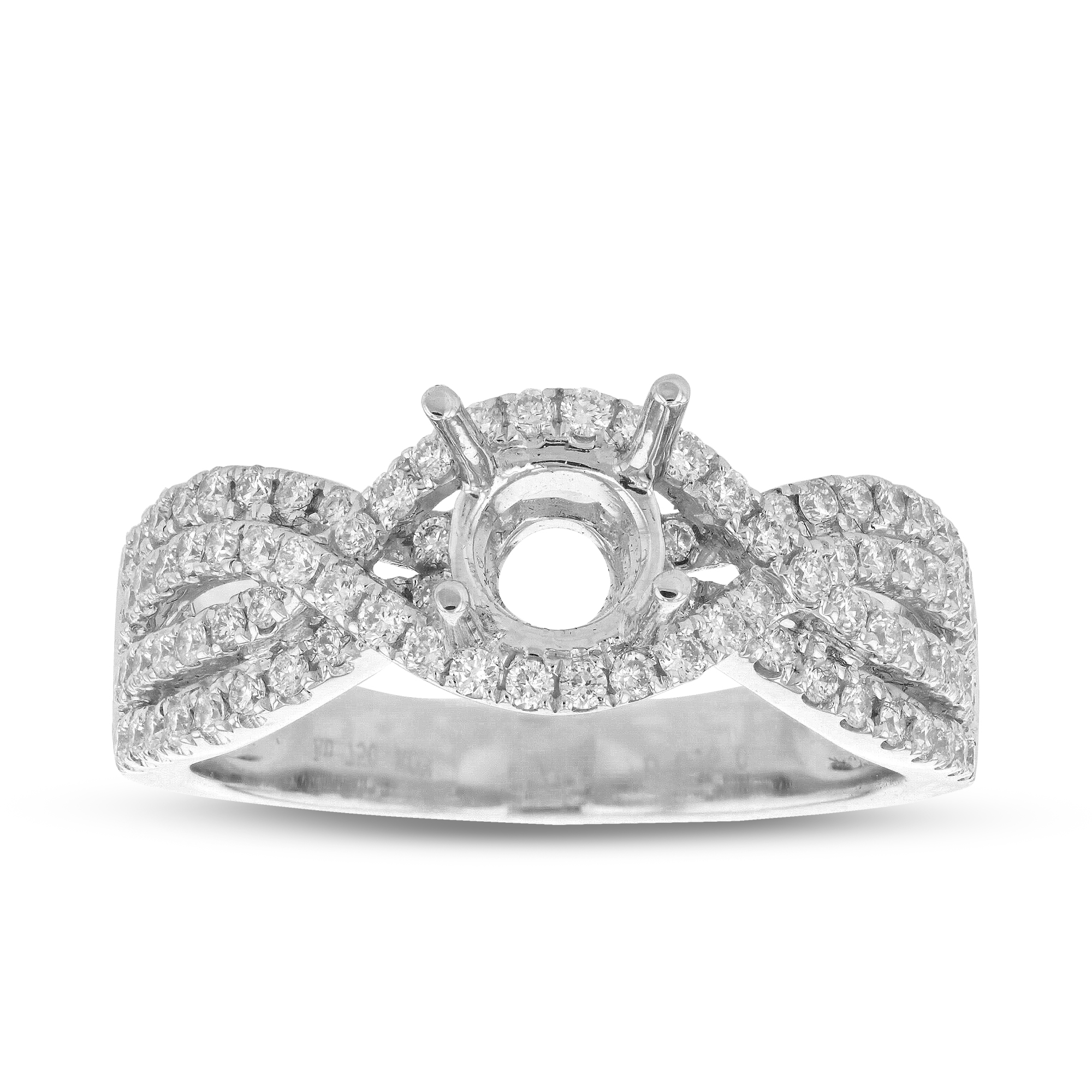 View 0.60ctw Diamond Semi Mount Engagement Ring in 18k White Gold