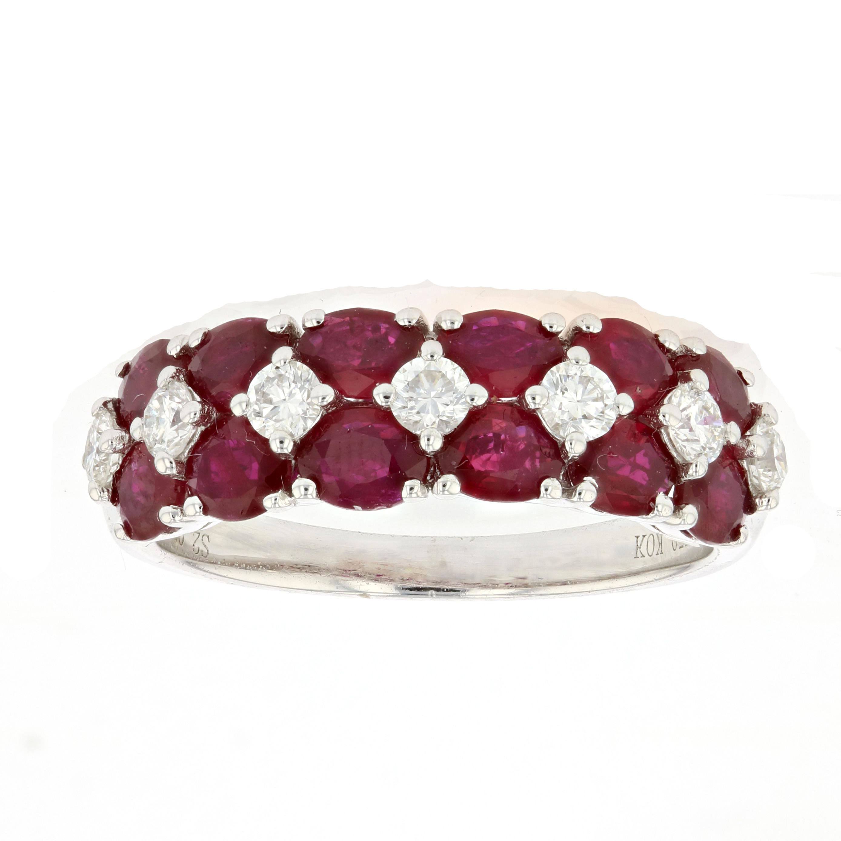 View 2.49ctw Diamond and Ruby Fashion Band in 18k White Gold