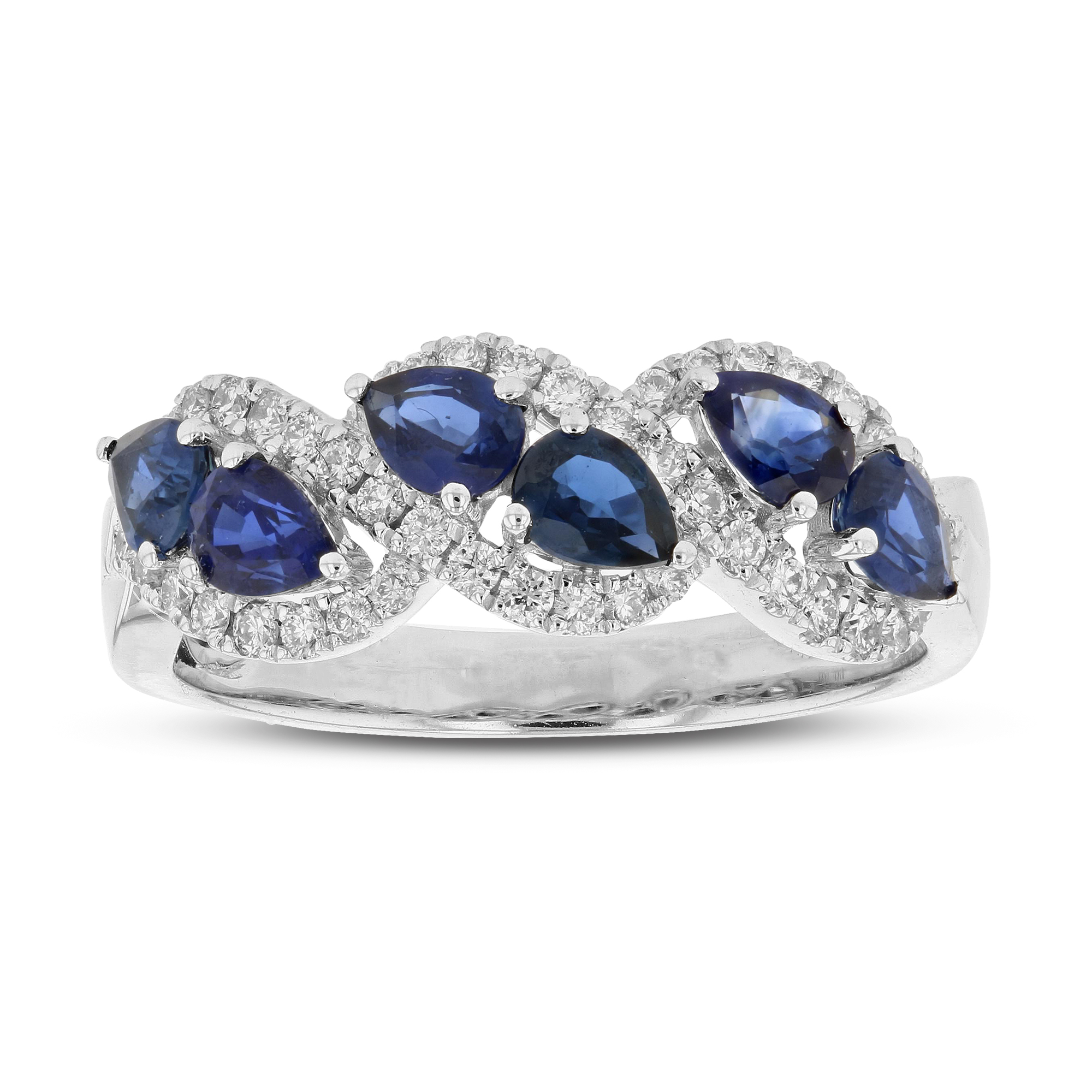 View 1.54ctw Diamond and Sapphire Band in 18k White Gold