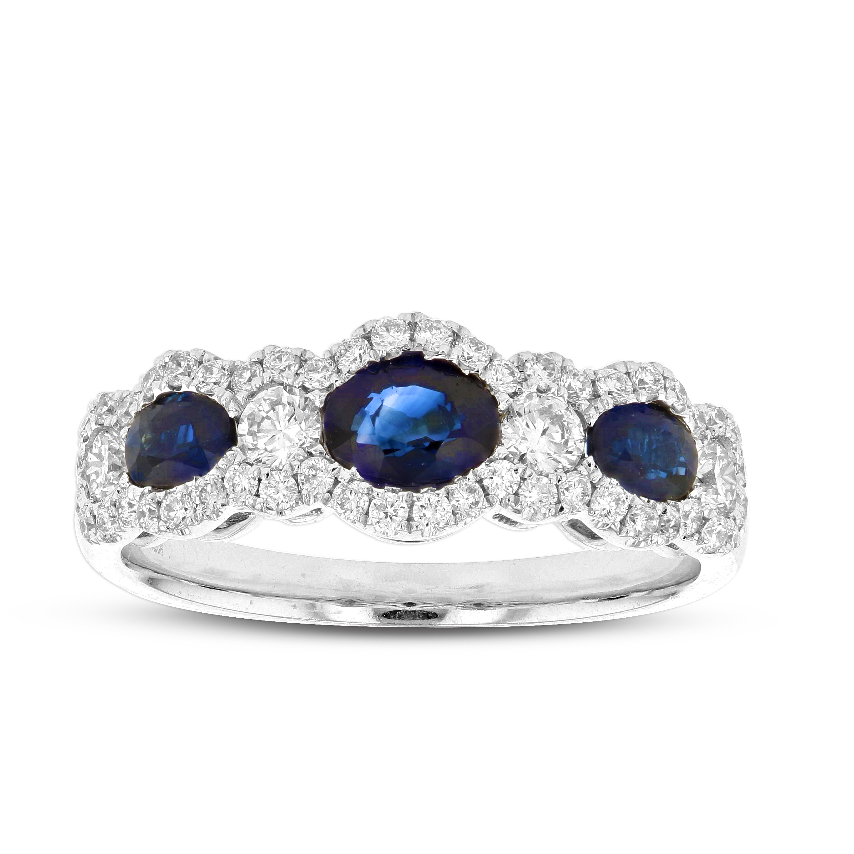 View 1.49ctw Diamond and Sapphire Band in 18k White Gold