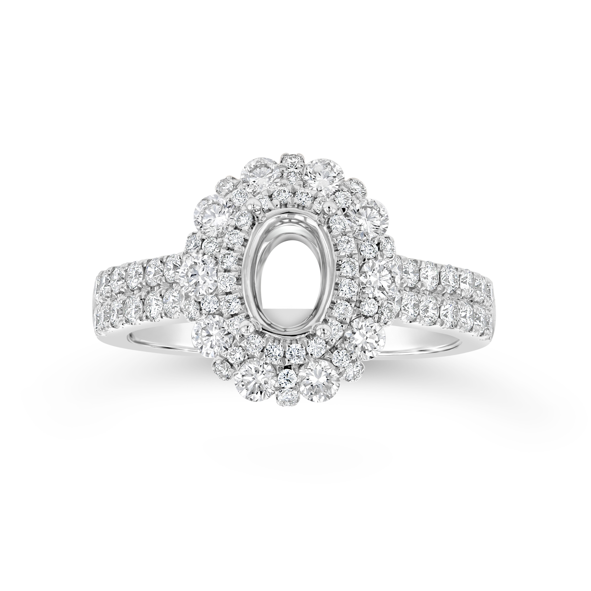 View 0.94ctw Diamond Double Halo Semi Mount Ring in 18k White Gold