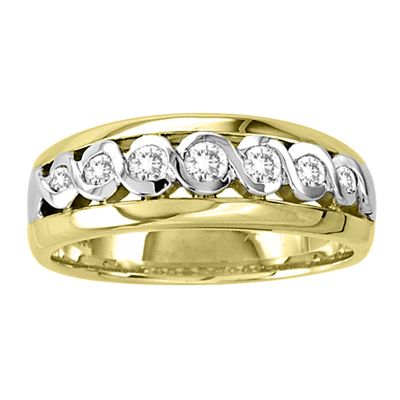 View 14k Gold Two Tone Men's Wedding Band with 0.40ct tw Diamonds