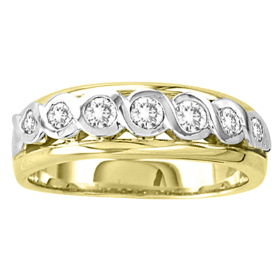 View 14k Gold Two Tone Ladies Wedding Band with 0.40ct tw Round Diamonds