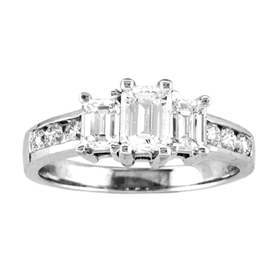 View 1.50cttw 14k Gold 3 Stone Past Present Future Anniversary Band or Engagement Ring H-I SI Quality Emerald Cut & Round Diamonds