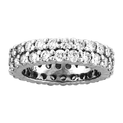 View 3.00ct tw Two Row All Around Diamond Eternity Band 14k Gold Bridal Ring H-J SI Quality Fit to Your Finger Size