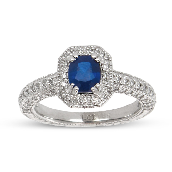 View 1.66cttw Cushion Cut Sapphire and Diamond Fashion Ring set in 14k Gold