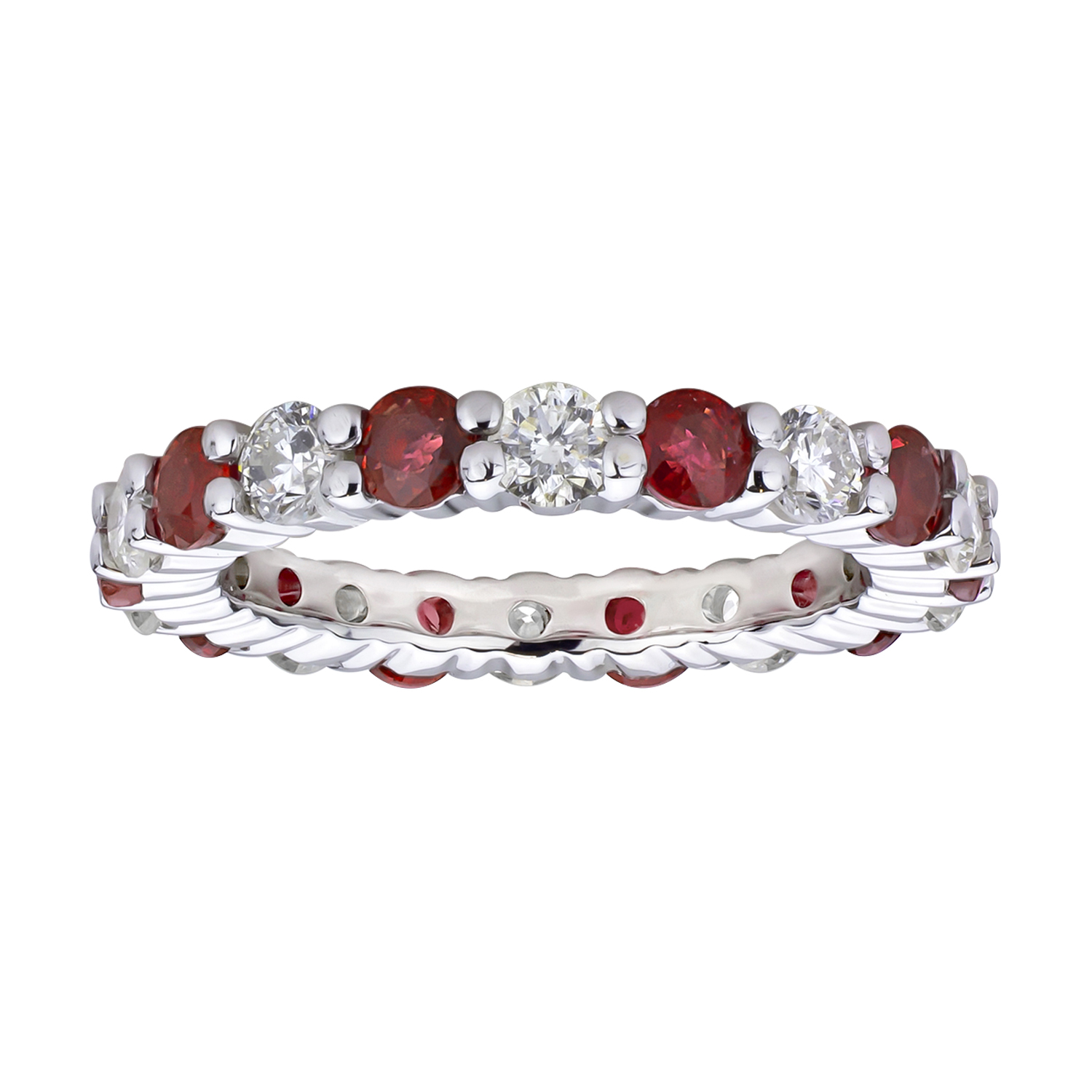 View 2.20cttw Diamond and Natural Heated Ruby Eternity Band set in 14k Gold